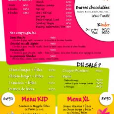 Découvrez la carte «Menus & Snacking» AVENTURE KID'S
